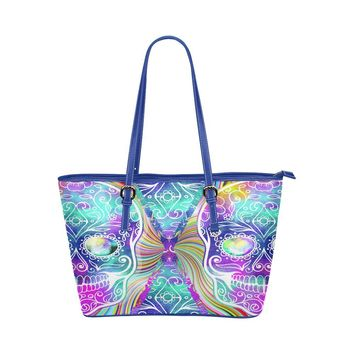 Hip Water Resistant Small Leather Tote Bags Sugar Skull #11 (5 colors)