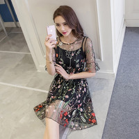 SexeMara 2017 Gorgeous Half Sleeves Sheer Mesh Embroidery Dresses Boho Style Floral Dress Cute Self Portrait Vestidos