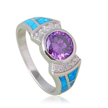 New Style Black Friday Amethyst Rings for Party Blue Fire Opal Silver Stamped Fashion Jewelry Rings USA sz#6#7#8#9#10 OR795A