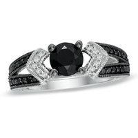 1 CT. T.W. Enhanced Black and White Diamond Split Shank Engagement Ring in Sterling Silver