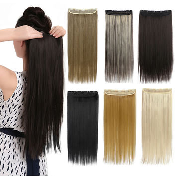 1Pc Clip In Hair Extensions Synthetic Hair Extension One Piece Full Head  Long Straight Natural Hairpiece Good Gifts