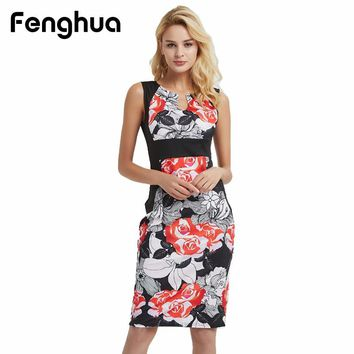 Fenghua Sexy Bodycon Party Dresses For Women Casual Floral Print Sleeveless Dress Female Vintage Elegant Slim Pencil Dress