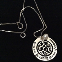 Thank you for Raising the Man of my Dreams Stamped Silver Charm Pendant Necklace with Tree of Life and Pearl Trendy Inspirational