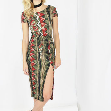 bodycon tribal print dress front waist tie dress high slit dress short sleeve boho dress bohemian dress small sm s