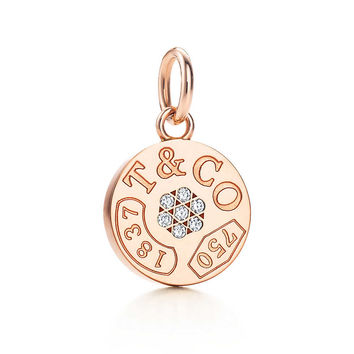 Tiffany & Co. - Tiffany 1837™ circle charm with diamonds in 18k rose gold.