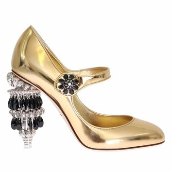 Dolce & Gabbana Gold Leather Crystal Chandelier Shoes