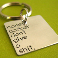 Honey Badger Key Chain  Honey Badger dont give by SpiffingJewelry