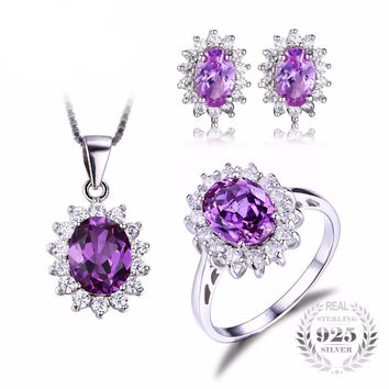 .925 Solid Silver Amethyst & Cubic Zirconia Ring Pendant Necklace & Earrings Set