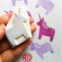 unicorn rubber stamp. unicorn stamp. hand carved rubber stamp.without tail. no1. READY TO SHIP