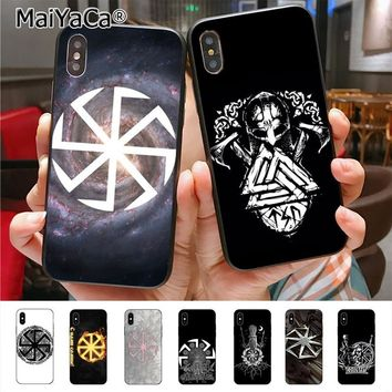 MaiYaCa Slavic Viking symbol Kolovrat Colorful Phone Case for iPhone X XS XR XS MAX 7plus 6 6s 7 8 8Plus 5 5S 5C case