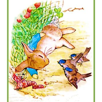 Peter Rabbit Napping inspired by Beatrix Potter Counted Cross Stitch Pattern