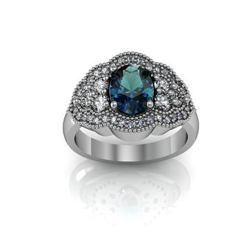 Art Deco Ring -  Antique Style Sterling Silver Created Alexandrite Engagement Wedding and Anniversary Ring