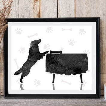Dog print Dog on table Dog paws Dog bone Modern wall decor Grey watercolor Printable art Nursery decor Funny prints Gift for dog lovers