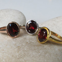 SALE Oval Garnet Ring- Classic Ring- Bezel Ring- January Birthstone Ring- Gemstone Ring- Promise Ring- Red Gemstone Ring- Oval Ring