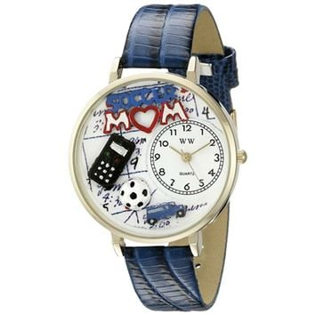 SheilaShrubs.com: Unisex Soccer Mom Royal Blue Leather Watch G-1010012 by Whimsical Watches: Watches