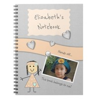 Kids Peach and gray Photo Spiral Notebook