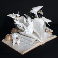 "Altered book ""Lotus flowers and butterflies"""