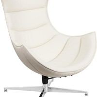 Cocoon Leather Swivel Lounge Chair