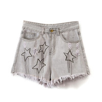 Gray Star Embroidery Raw Hem Denim Shorts