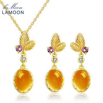 LAMOON classic flower 100% Natural Citrine 925 Sterling Silver Jewelry S925 14K Yellow Gold Plated Jewelry Set V022-2