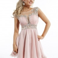 Rachel Allan 6645 - Blush Beaded Illusion Homecoming Dresses Online