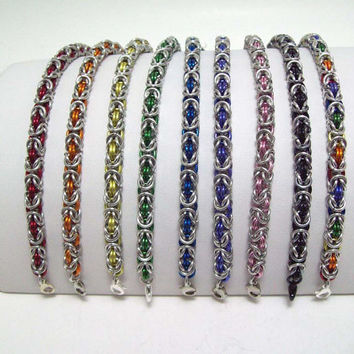 chainmaille, bracelet, byzantine, custom color