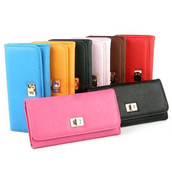 New Women Fashion Synthetic Leather Wallet Cross Clutch Purse Lady Long Handbag Bag SV003244 (Color: Green) = 1745576260