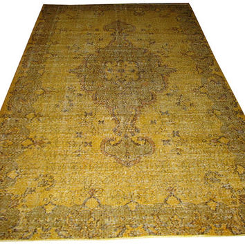 Sale Yellow Color Overdyed Handmade Rug  with Medallion Design 9'4'' x 6'1'' feet
