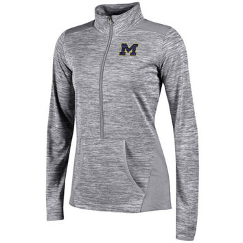 Champion University of Michigan Ladies Heather Gray Infinity Deep Zip Pullover