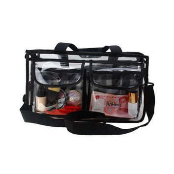 Ismine Black Transparent High Capacity Portable Big Cosmetic Bag 2 Layer Travel Bag For Toiletry Kits With Strapes