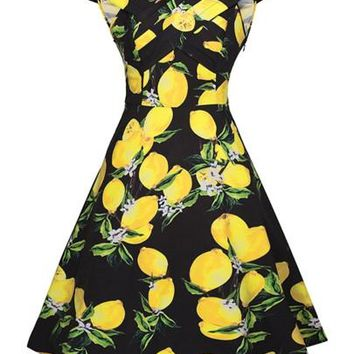 Cap Sleeve Lemon Pattern Women's Day Dress