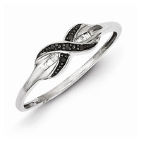 Sterling Silver and Black Diamond Infinity Knot Ring