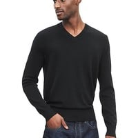 Banana Republic Mens Extra Fine Merino Wool Vee Sweater Pullover