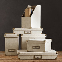Linen Office Storage Accessories Sand