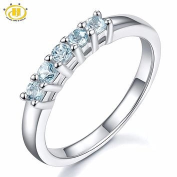 Hutang Five Stone Natural Aquamarine Solid 925 Sterling Silver Band Tail Ring Engagement Bridal wedding Fine Jewelry For Women