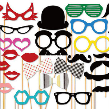 Wedding PhotoBooth Props - 31 Piece Party Photo Props Set - Photo Booth Props