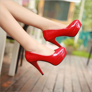 Heels 11CM Patent Leather Women Pumps Party/Wedding/Work Platform Pumps Sexy Ladies Stiletto Shoes Casual High-heeled Shoes 901