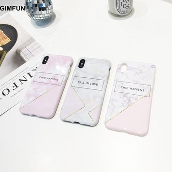 GIMFUN New Shiny Letter Marble Phone Case for Iphone 8 8plus 6 6s 7 6plus7plus Stone Painted Soft Tpu IMD Back Cover for IphoneX