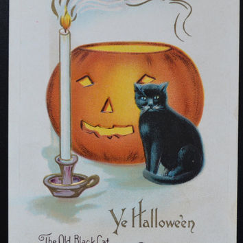 Halloween Postcard, Black Cat JOL Postcard, Nash Postcard, Halloween Card, Halloween Ephemera, Henderson