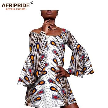 2018 summer african casual dress for women AFRIPRIDE tailor made full flare sleeve above knee length women A-line dress A1825065