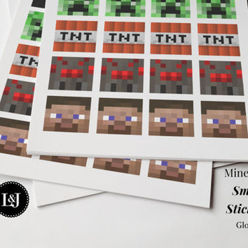 Minecraft Stickers 24 small mixed character sticker labels. Creeper Spider Enderman Zombie TNT Steve. Birthday, School, Decor, Crafts, Art.