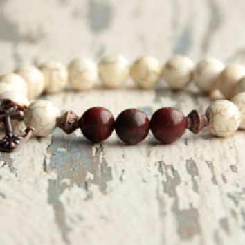 anchor bracelet men bracelets gift for boyfriend brown white bracelet boho anchor jewelry beads bracelet brother gift ideas gemstone