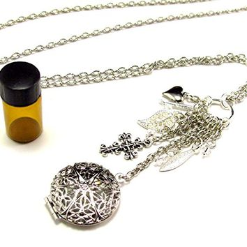 Aromatherapy Necklace - Beautiful Filigree Locket in Silver with Charms and Crystals