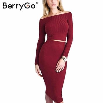 BerryGo  winter off shoulder knitted dress