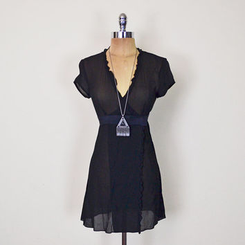 Vintage 90s Nanette Lepore Black Dress LBD Sheer Dress 100% Silk Ruffle Wrap Dress Babydoll Dress Mini Dress 90s Dress Grunge Dress XXS XS