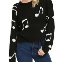 Black White Music Note Girls Pullover Sweater