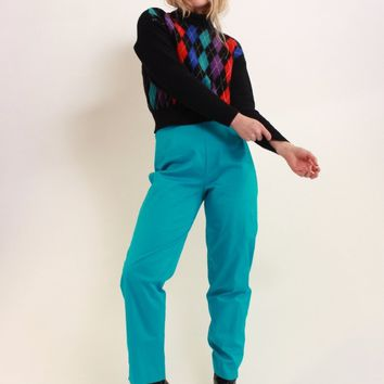 Turquoise Slim Fit Trousers / M