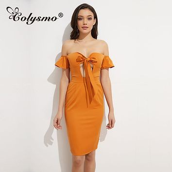Colysmo Sexy Apparel Solid Color Summer Dress Party Off Shoulder Short Dress Women Backless Dress Vestidos 2018 Leisure Tight