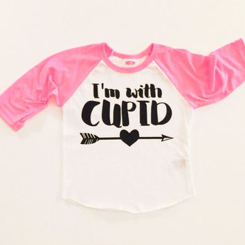 Valentine's Day Shirt, I'm with cupid shirt, Toddler girl, Baby Girl, Valentines T-Shirt, valentines outfit, raglan, baseball tee, cupid