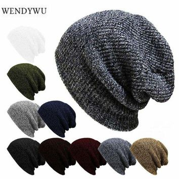 ONETOW WENDYWU new winter casual hip hop hat men's men's knitwear Toucas Bonnet hat men's lady crochet ski cap warm Skullies Gorros
